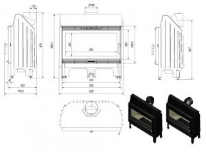 Hogar BLANKA 910 14 kW- PUERTA FRONTAL DOBLE CRISTAL (kratki)