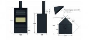 Descripción: Estufa Leña RF 200 H con leñero (TNC)